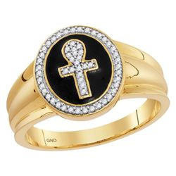1/6 CTW Mens Round Diamond Ankh Cross Fashion Ring 10kt Yellow Gold - REF-28R8H
