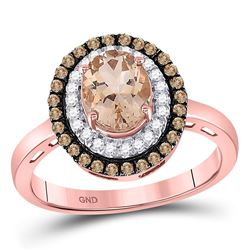 1 & 1/2 CTW Oval Morganite Solitaire Diamond Fashion Ring 10kt Rose Gold - REF-33M3A