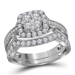 1 CTW Round Diamond Cluster Bridal Wedding Engagement Ring 14kt White Gold - REF-77W9F