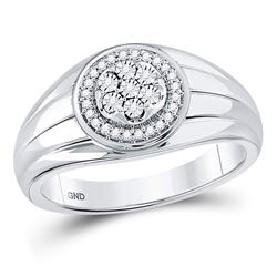 1/10 CTW Mens Round Diamond Circle Cluster Ring 10kt White Gold - REF-27F5M