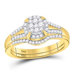 3/8 CTW Round Diamond Bridal Wedding Engagement Ring 10kt Yellow Gold - REF-33Y6X