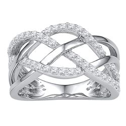 1/3 CTW Round Diamond Woven Crossover Ring 10kt White Gold - REF-30F3M