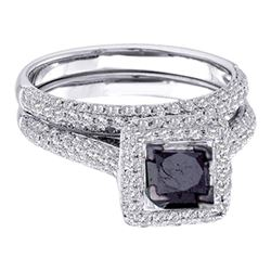 1 & 1/4 CTW Black Princess Diamond Solitaire Wedding Bridal Ring 14kt White Gold - REF-63M3A