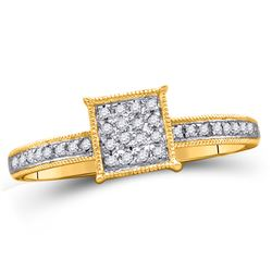 1/10 CTW Round Diamond Square Cluster Ring 10kt Yellow Gold - REF-10K8R