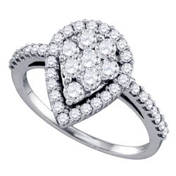 1 CTW Round Diamond Teardrop-shape Cluster Engagement Anniversary Bridal Ring 10kt White Gold - REF-
