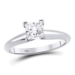 1 CTW Princess Diamond Solitaire Bridal Wedding Engagement Ring 14kt White Gold - REF-273R6H