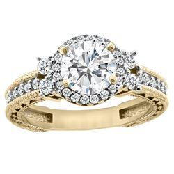1.15 CTW Diamond Ring 14K Yellow Gold - REF-305N4Y