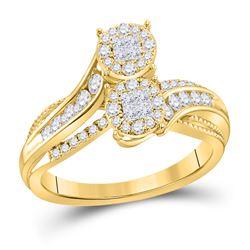1/2 CTW Princess Diamond Cluster Bridal Wedding Engagement Ring 14kt Yellow Gold - REF-54R3H