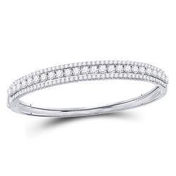 5 CTW Round Diamond 3-Row Bangle Bracelet 14kt White Gold - REF-455W9F