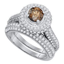2 CTW Round Brown Diamond Halo Bridal Wedding Engagement Ring 14kt White Gold - REF-143K9R