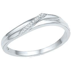 0.03 CTW Round Diamond Simple Single Row Ring 10kt White Gold - REF-9H3W