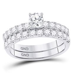 1 CTW Round Diamond Bridal Wedding Engagement Ring 14kt White Gold - REF-113R9H