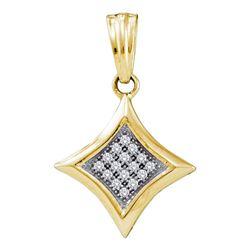 1/20 CTW Round Diamond Diagonal Kite Square Cluster Pendant 10kt Yellow Gold - REF-7R5H