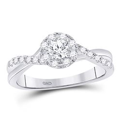 1/2 CTW Round Diamond Solitaire Bridal Wedding Engagement Ring 14kt White Gold - REF-60M3A