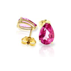 Genuine 3.15 ctw Pink Topaz Earrings 14KT Yellow Gold - REF-22P2H