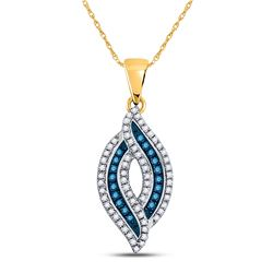 1/3 CTW Round Blue Color Enhanced Diamond Oval Frame Pendant 10kt Yellow Gold - REF-15M5A