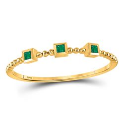 0.03 CTW Princess Emerald Beaded 3-stone Stackable Ring 10kt Yellow Gold - REF-5M9A
