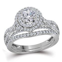 1 & 3/4 CTW Round Diamond Double Halo Bridal Wedding Engagement Ring 14kt White Gold - REF-294T3K