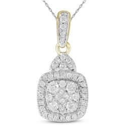 3/8 CTW Princess Round Diamond Square Cluster Pendant 14kt Yellow Gold - REF-39N6Y