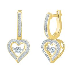 1/4 CTW Round Diamond Heart Dangle Hoop Earrings 10kt Yellow Gold - REF-30Y3X