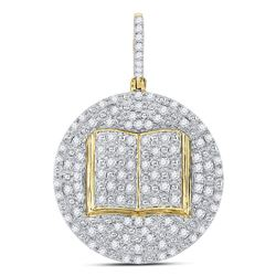 1 CTW Mens Round Diamond Holy Bible Open Book Charm Pendant 10kt Yellow Gold - REF-54Y3X