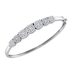 1 & 1/4 CTW Round Diamond Cluster Bangle Bracelet 10kt White Gold - REF-120X3T