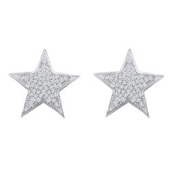 1/4 CTW Round Diamond Star Cluster Stud Earrings 10kt White Gold - REF-19M2A