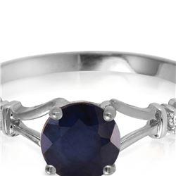 Genuine 1.02 ctw Sapphire & Diamond Ring 14KT White Gold - REF-30N9R