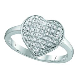 1/10 CTW Round Diamond Heart Cluster Ring 10kt White Gold - REF-11A9N