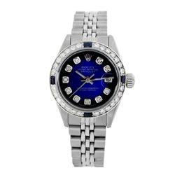 Rolex Pre-owned 26mm Womens Custom Blue Vignette Stainless Steel - REF-470R2M