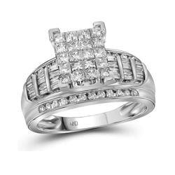 2 CTW Princess Diamond Cluster Bridal Wedding Engagement Ring 14kt White Gold - REF-140F3M