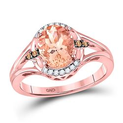 2 CTW Oval Morganite Fashion Solitaire Ring 10kt Rose Gold - REF-45M6A