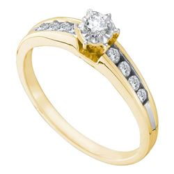 1/4 CTW Round Diamond Solitaire Bridal Wedding Engagement Ring 14kt Yellow Gold - REF-27M3A