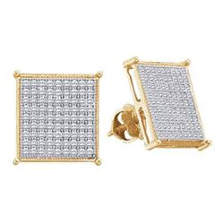 1/2 CTW Round Diamond Square Cluster Screwback Earrings 10kt Yellow Gold - REF-27H3W