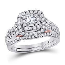 1 CTW Round Diamond Bridal Wedding Engagement Ring 14kt Two-tone Gold - REF-117A3N