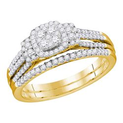 1/2 CTW Round Diamond Cluster Bridal Wedding Engagement Ring 10kt Yellow Gold - REF-60N3Y