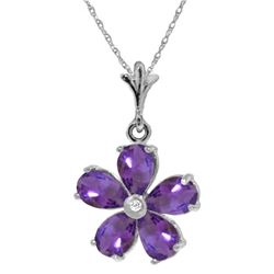 Genuine 2.22 ctw Amethyst & Diamond Necklace 14KT White Gold - REF-30T2A