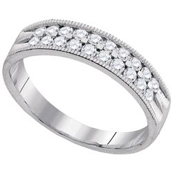 1/2 CTW Round Diamond Double Row Milgrain Wedding Ring 10kt White Gold - REF-39W6F