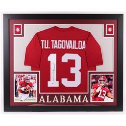 Tua Tagovailoa Signed 32x37 Custom Framed Jersey Display (Beckett COA)
