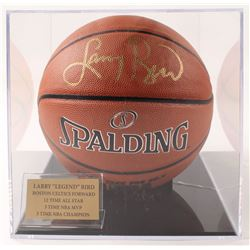 Larry Bird Signed NBA Logo Basketball with Display Case (PSA COA & Bird Hologram)