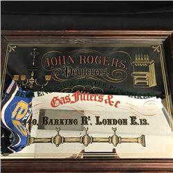 "Vintage Advertising John Rogers Pewterers Mirror 32"" x 25"""