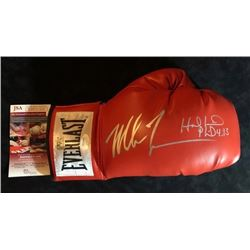 MIKE TYSON & EVANDER HOLYFIELD SIGNED RED EVERLAST BOXING GLOVE (JSA COA)