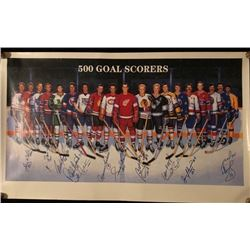 AUTOGRAPHED 500 NHL GOAL SCORERS 42  X 26  FRAMED PRINT W/ HOWE, HULL, BUCYK, BELIVEAU, LAFLEUR...