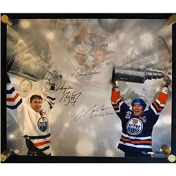 DUAL SIGNED WAYNE GRETZKY & MARK MESSIER 16 X 24 ARTIST PRINT (LIMITED OF 11)