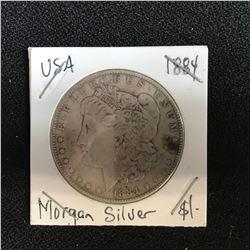 1884 USA MORGAN SILVER DOLLAR