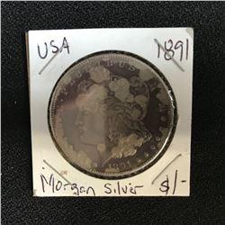 1891 USA MORGAN SILVER DOLLAR