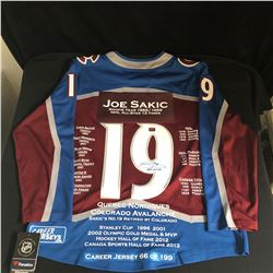 JOE SAKIC SIGNED AVALANCHE STATS JERSEY (AUTOGRAPH AUTHENTIC LOA) #66/199