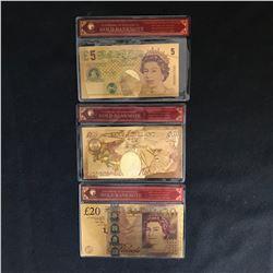 23K GOLD NOVELTY ENGLISH BANK NOTES LOT