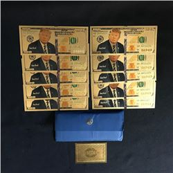 Donald Trump USA 24k Plated Gold Novelty Notes $100