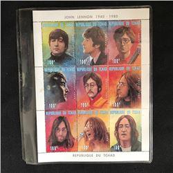 John Lennon 1940-1980 Portrait Stamps Republique Du Tchad w/ COA